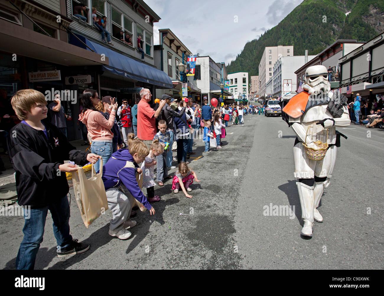 Man with star wars disguise. 4th July parade. Juneau. Alaska. USA - Stock Image