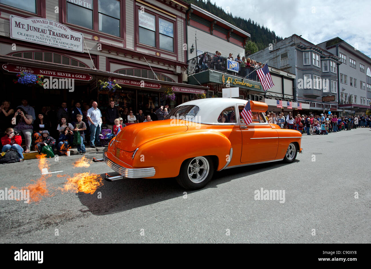 Hot rod car with flames on the exhaust. 4th July parade. Juneau ...