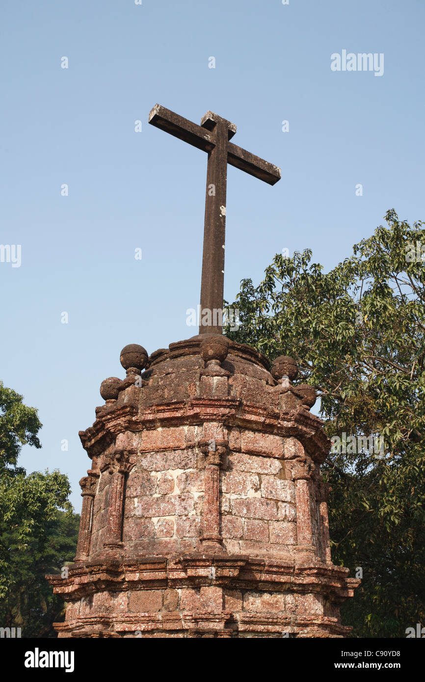 Old Goa contains many historic churches and religious statues built by the Portuguese who settled as colonial rulers - Stock Image