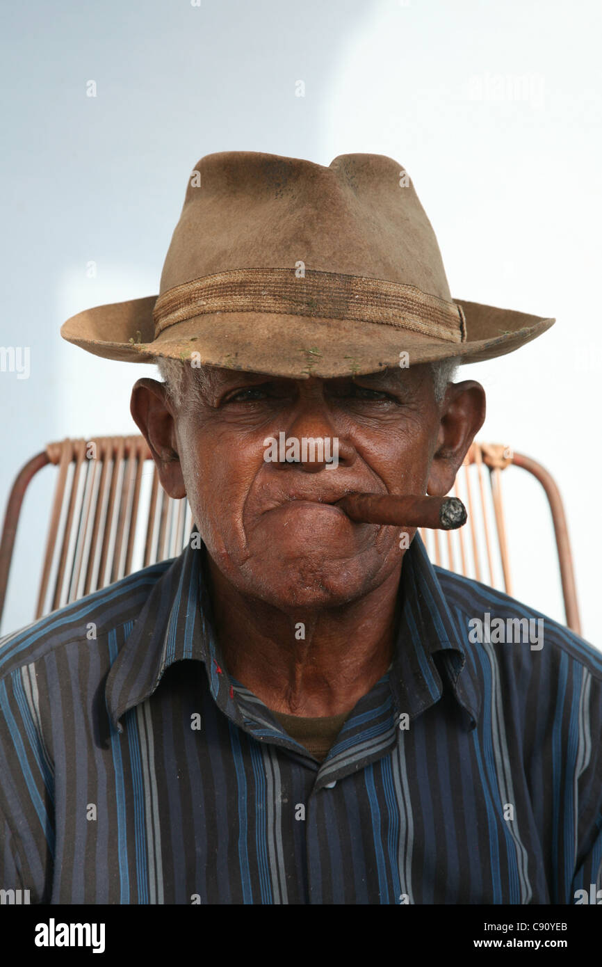 Cuban smoker in the town of Vinales, Cuba. Stock Photo