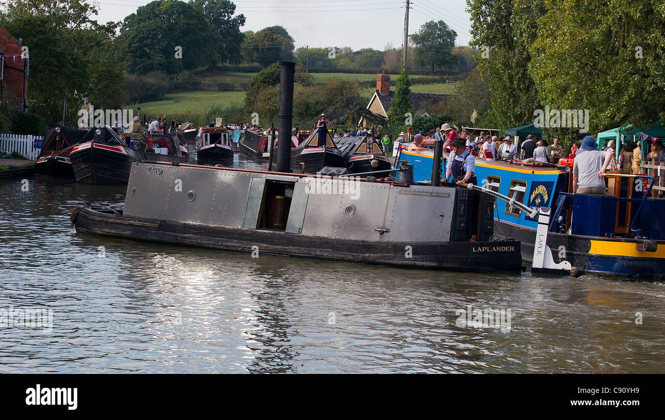 Laplander Steam Powered Iceboat on the Grand Union Canal Showing Steam  Boiler through mid-hatch under Smoke Stack - Stock Image