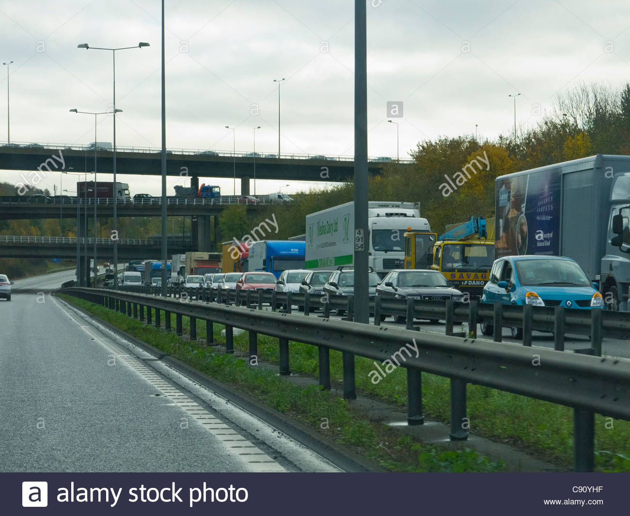 Chaos on the M25 Motor Way England - Stock Image
