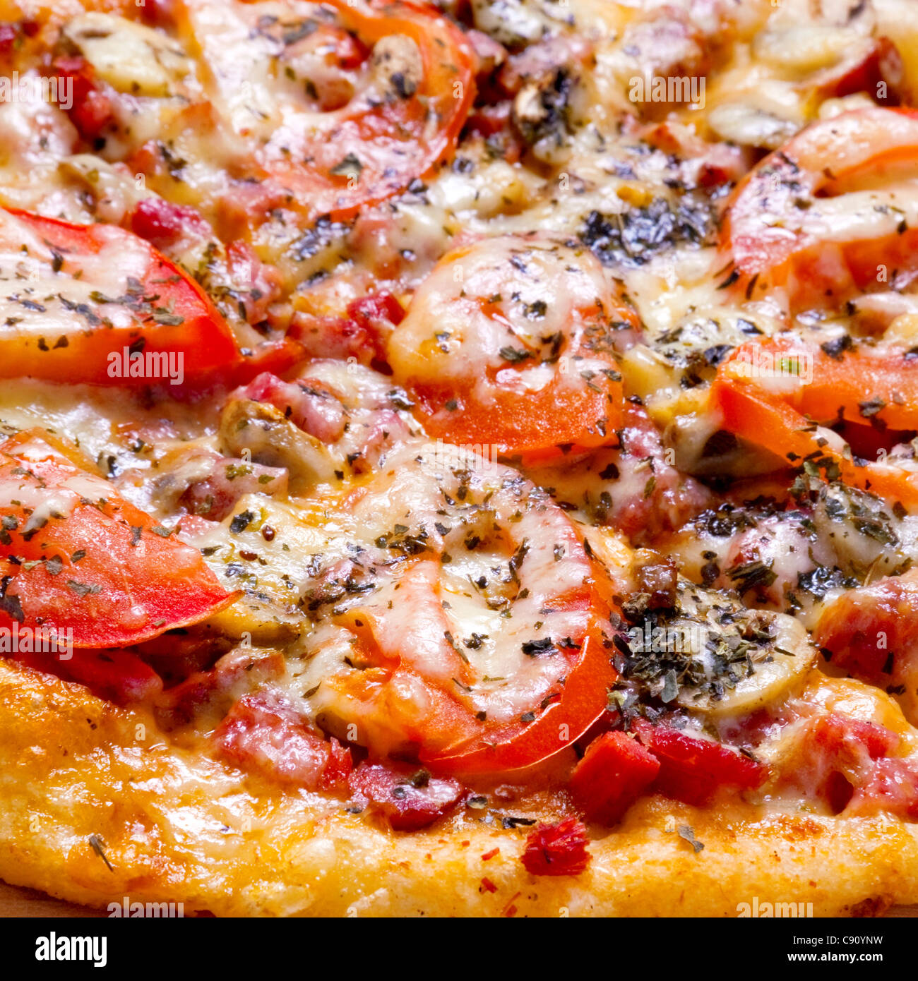 Pizza fast food with tomato and cheese closeup - Stock Image