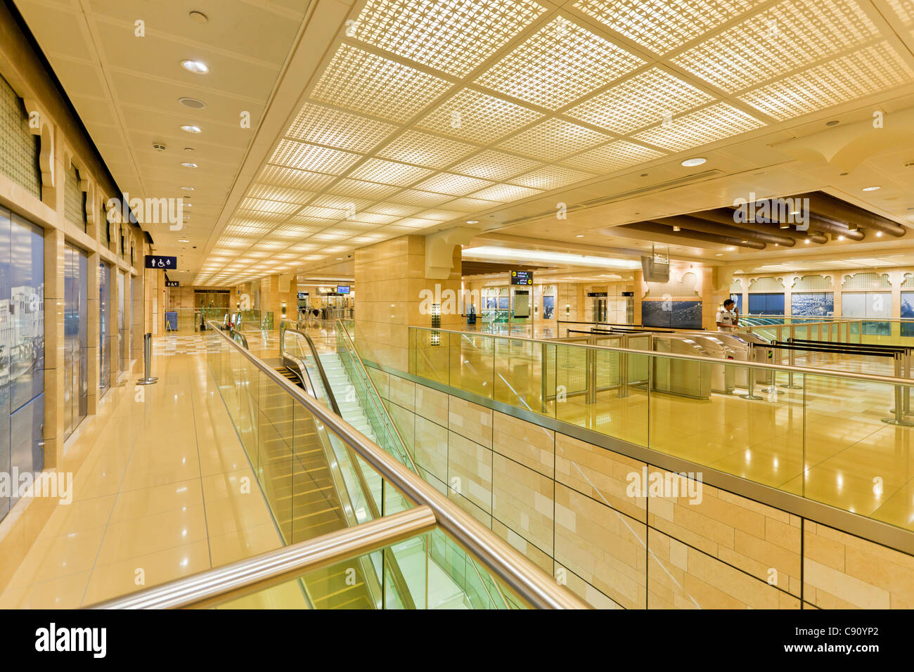 Al Ras Metro Station Interior, Dubai, United Arab Emirates, UAE, Middle East - Stock Image