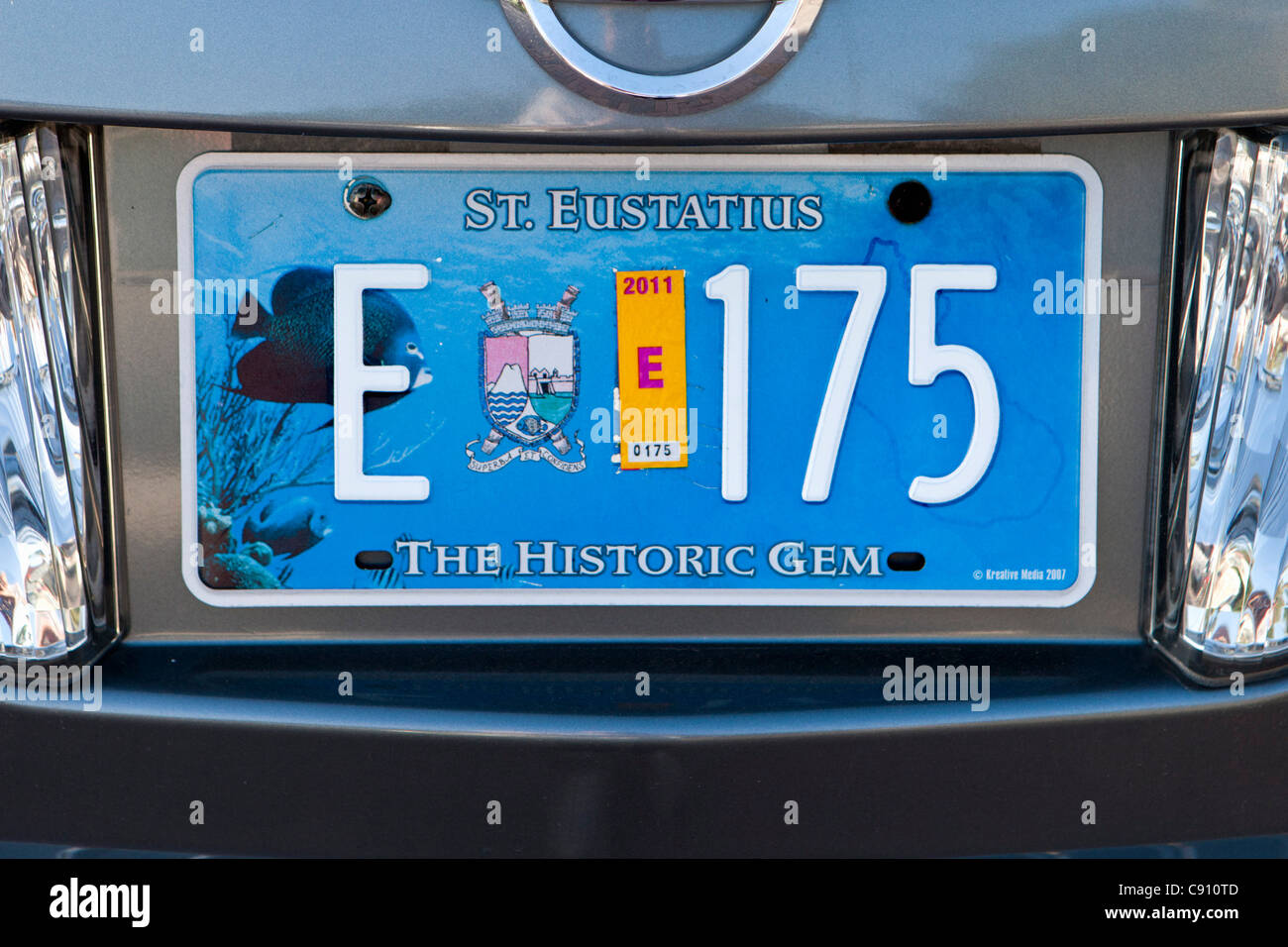 Oranjestad, Sint Eustatius Island, Dutch Caribbean. Number or license plate with the island's nickname The Historic - Stock Image