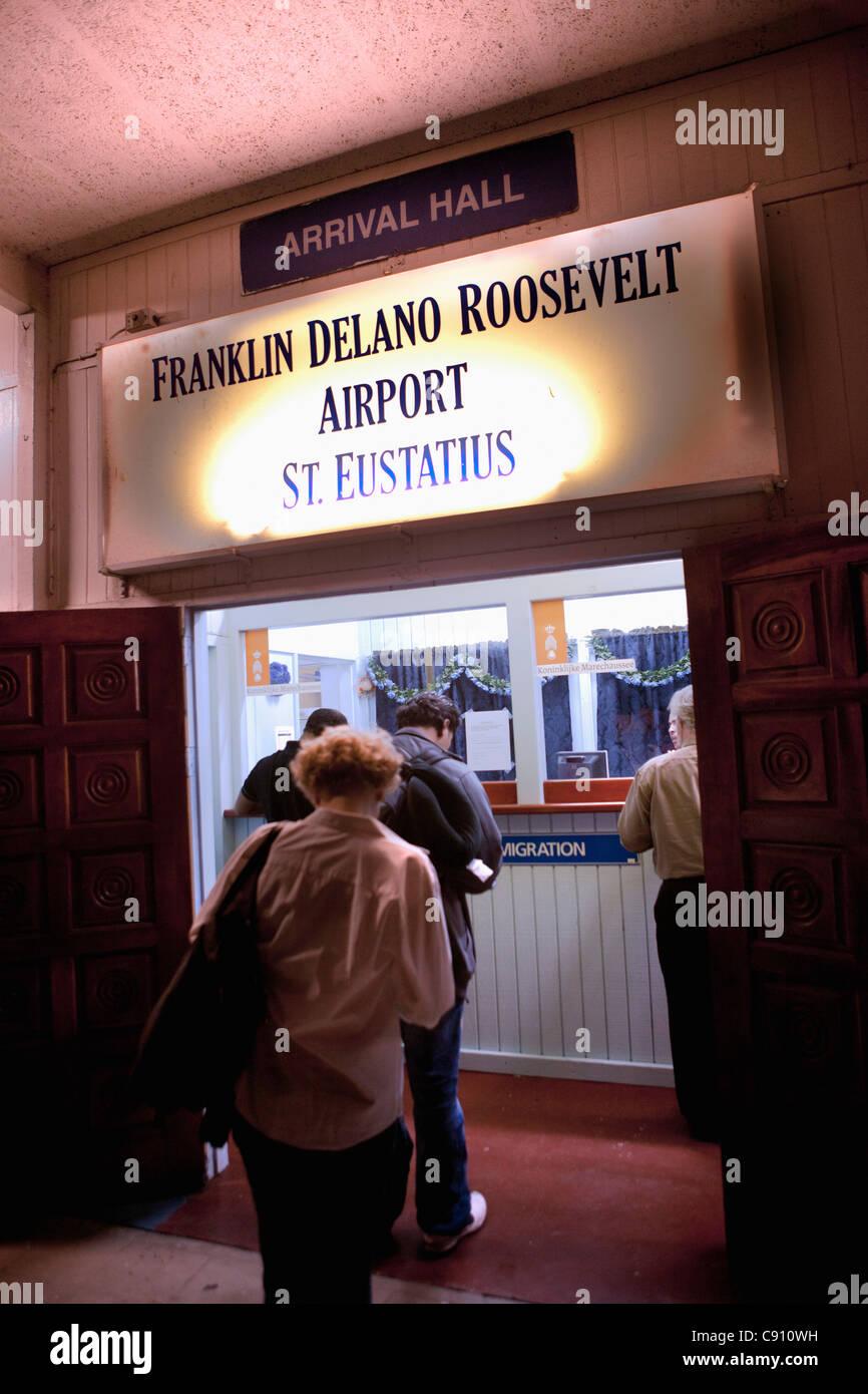 Oranjestad, Sint Eustatius Island, Dutch Caribbean. Arrival hall of Franklin Delano Roosevelt Airport. Immigration - Stock Image