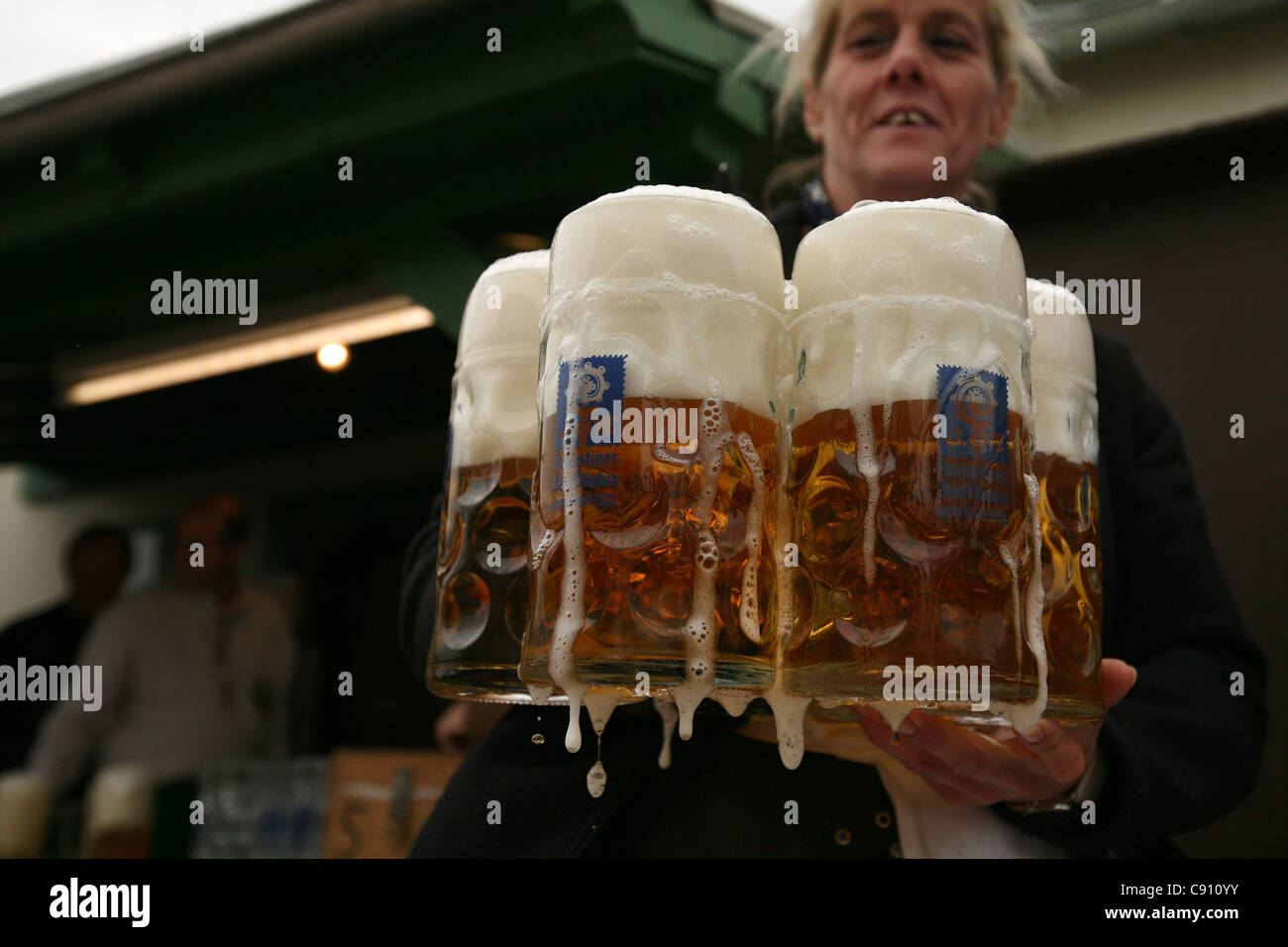 Waitress of the Augustiner Festhalle at the Oktoberfest Beer Festival in Munich, Germany. Stock Photo
