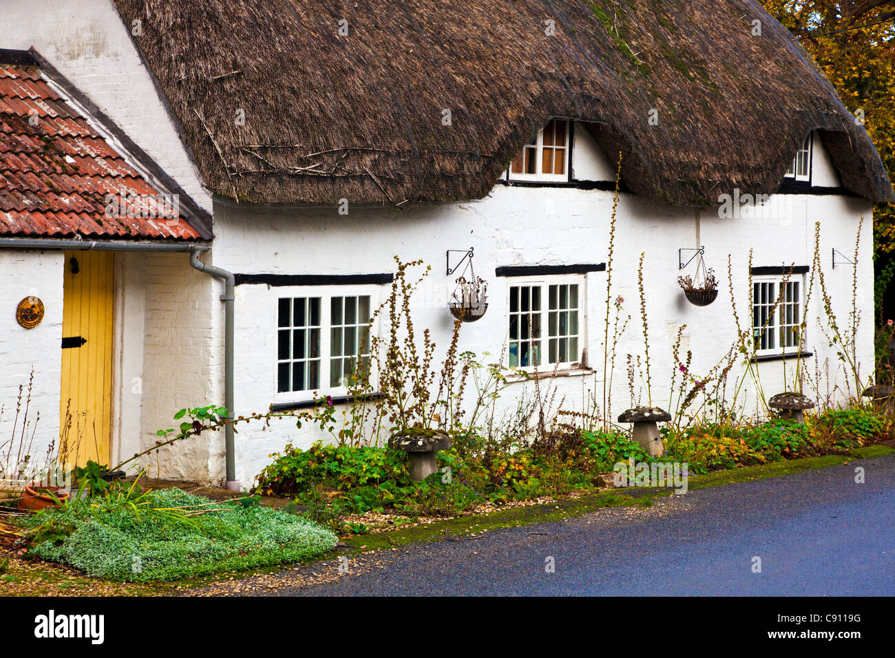 A typical English thatched country cottage in the Wiltshire village of Clyffe Pypard, England, UK - Stock Image