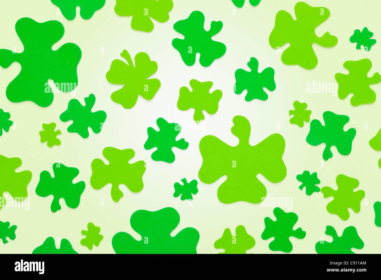 Green shamrock pattern - Stock Image