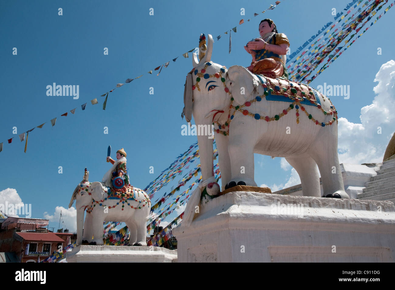 Boudhanath or Bodhnath temple is one of the holiest Buddhist sites in Kathmandu and a UNESCO world heritage site. - Stock Image