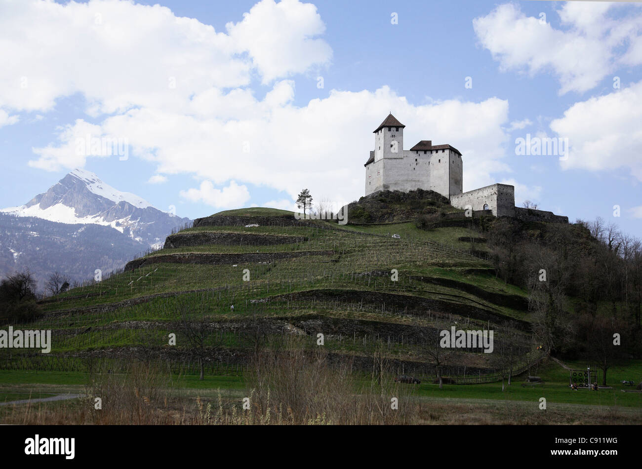 The Principality of Liechtenstein is the smallest German-speaking country in the world. It has a mountainous terrain - Stock Image