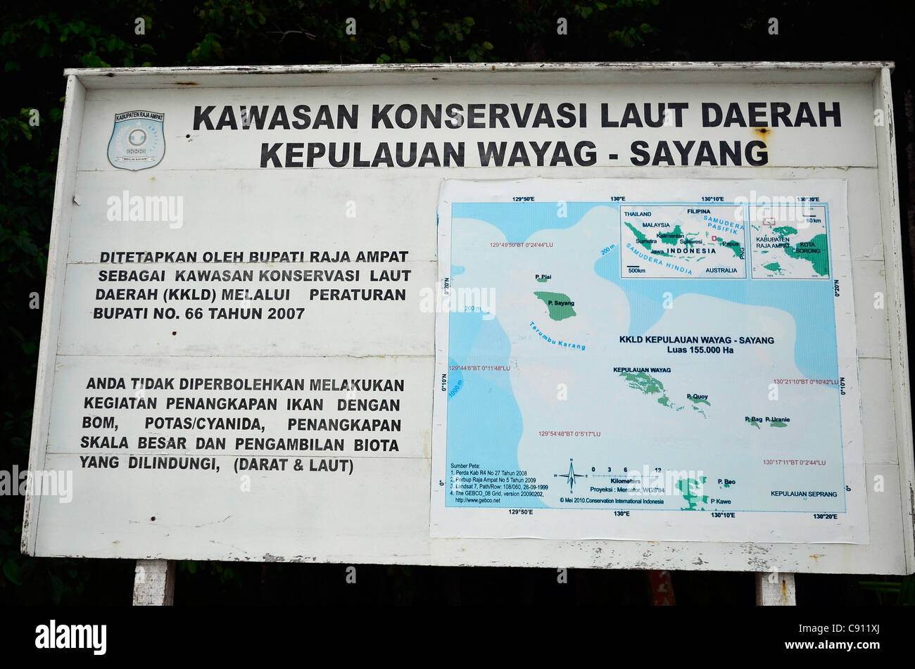 Map of Wayag conservation area, Raja Ampat islands near West Papua, Indonesia in the coral triangle, Pacific Ocean. - Stock Image