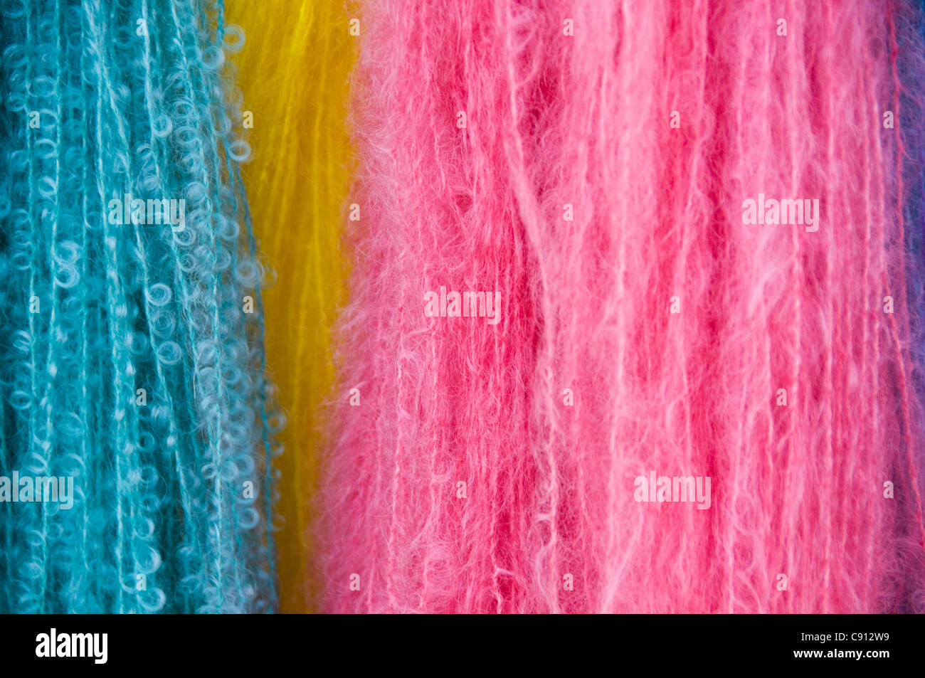 Mohair wool from different colors - Stock Image