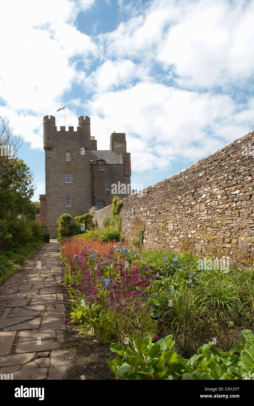 The Castle of Mey is a 15th century tower house on the coast of Caithness the private residence of the late Queen - Stock Image