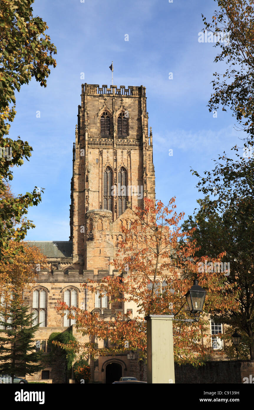 Durham Cathedral Tower From The South With Old Water Pump In The