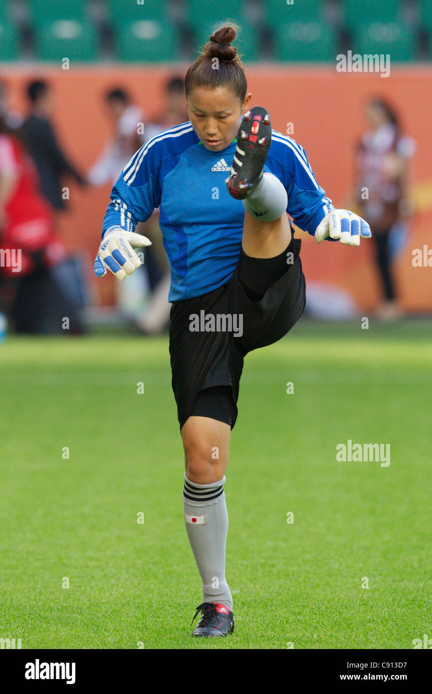 Japan goalkeeper Nozomi Yamago warms up before a 2011 Women's World Cup quarterfinal match against Germany at - Stock Image