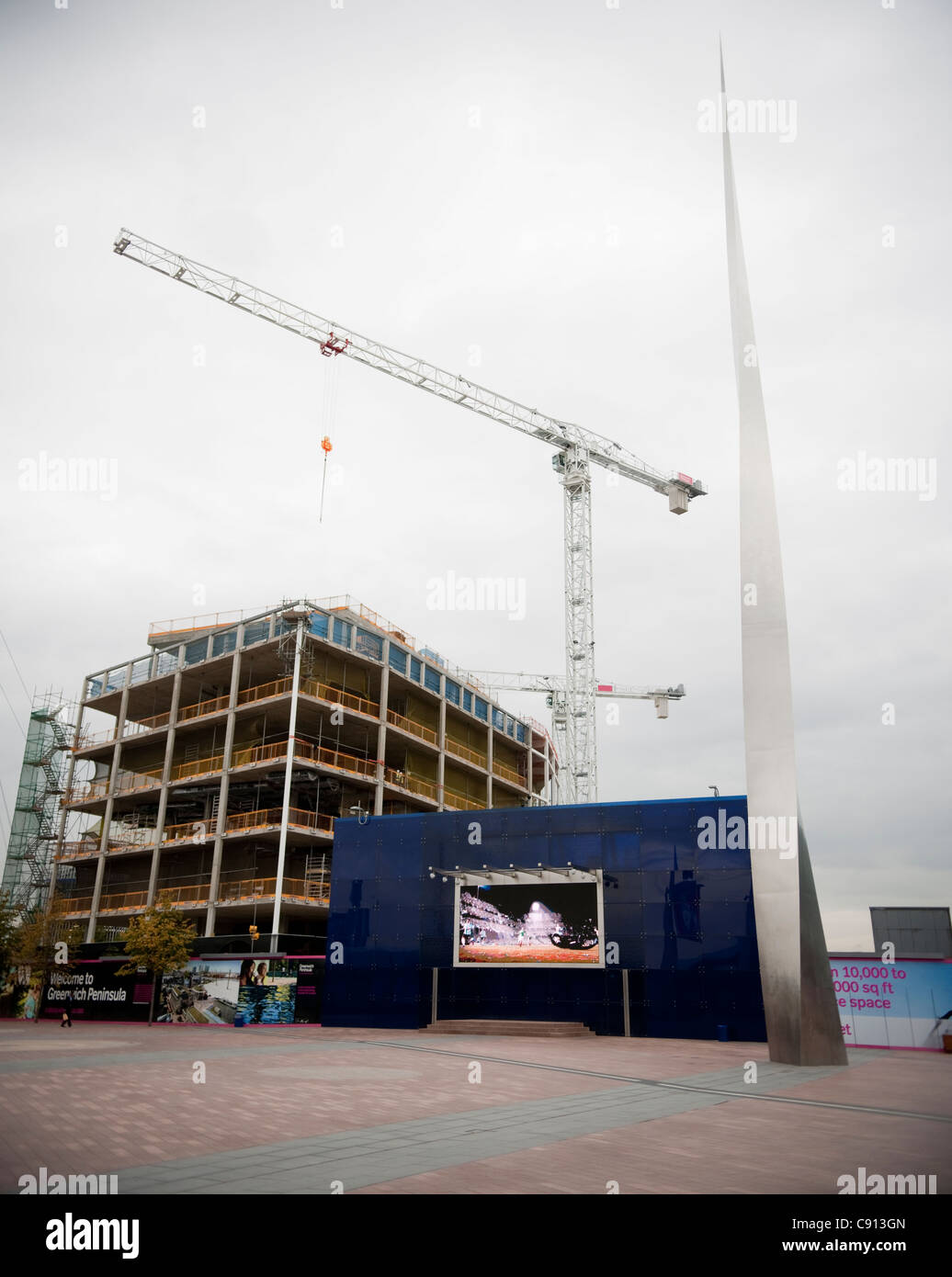 Greenwich Peninsula is an area of London which is being developed since the old docks fell into disuse and the site - Stock Image