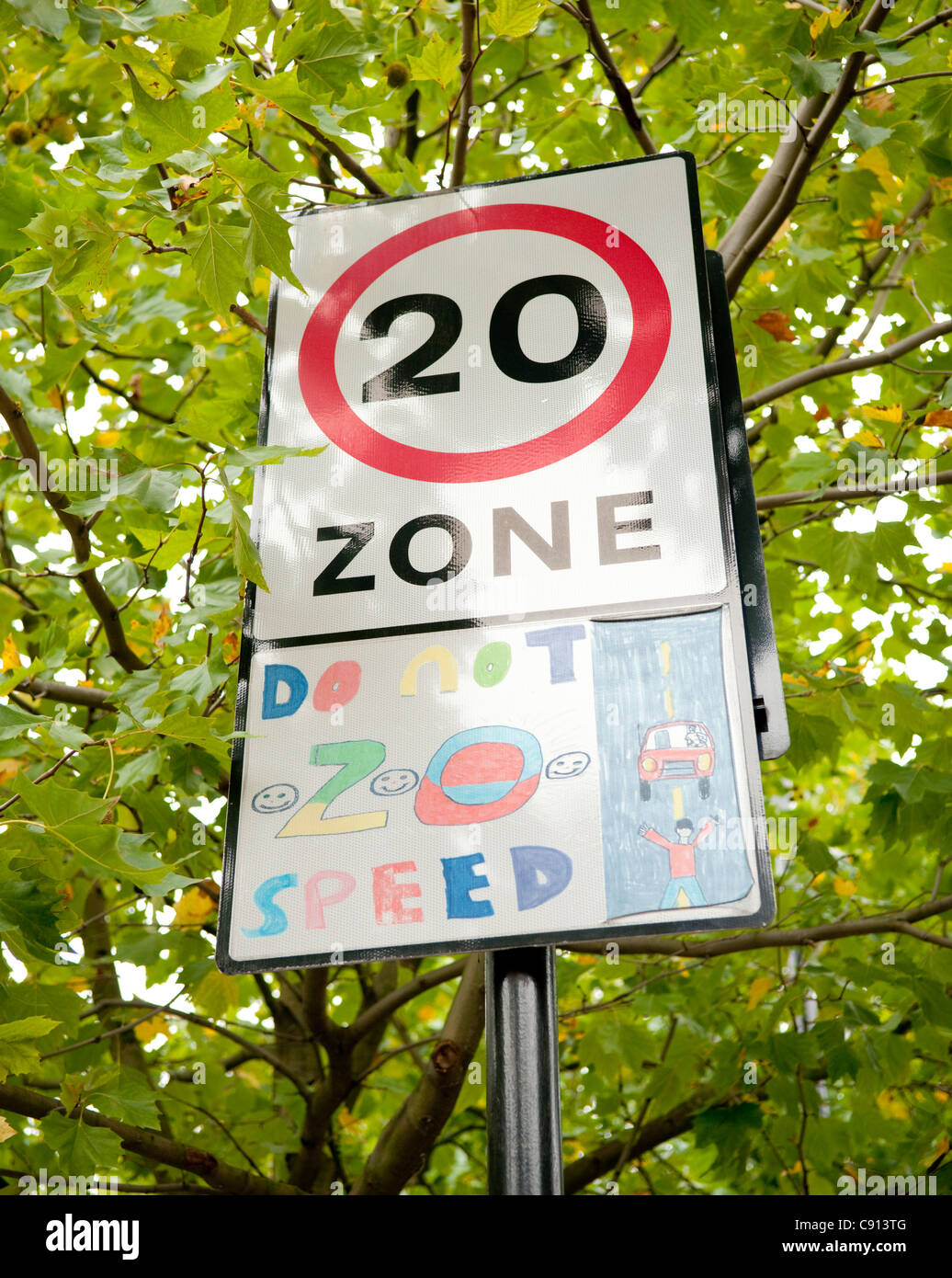 Many residential streets in London boroughs have a speed limit of 20 miles per hour as a safety measure enforced - Stock Image