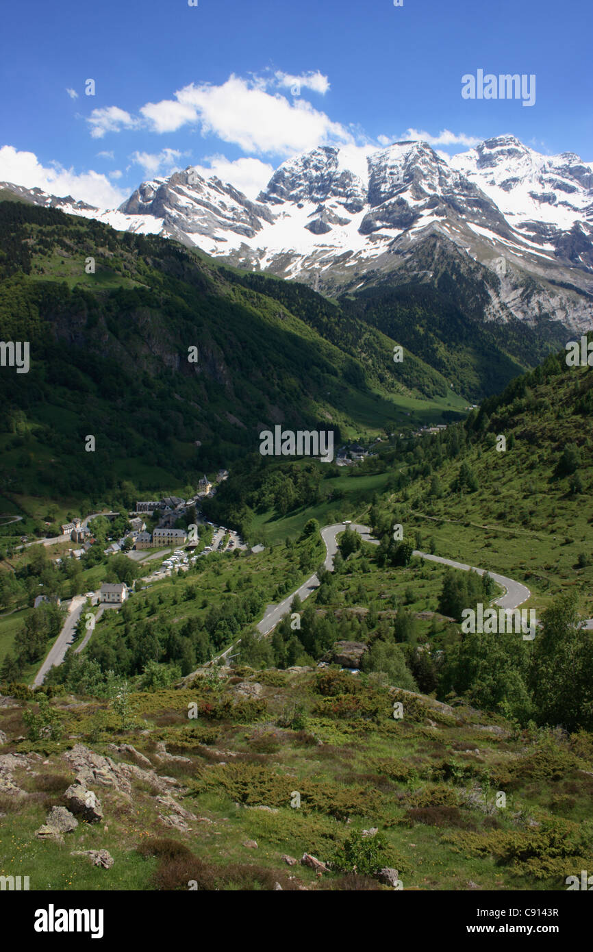 The Cirque de Gavarnie is a dramatic glacial bowl in the landscape of the Pyrenees national park. It was made famous Stock Photo