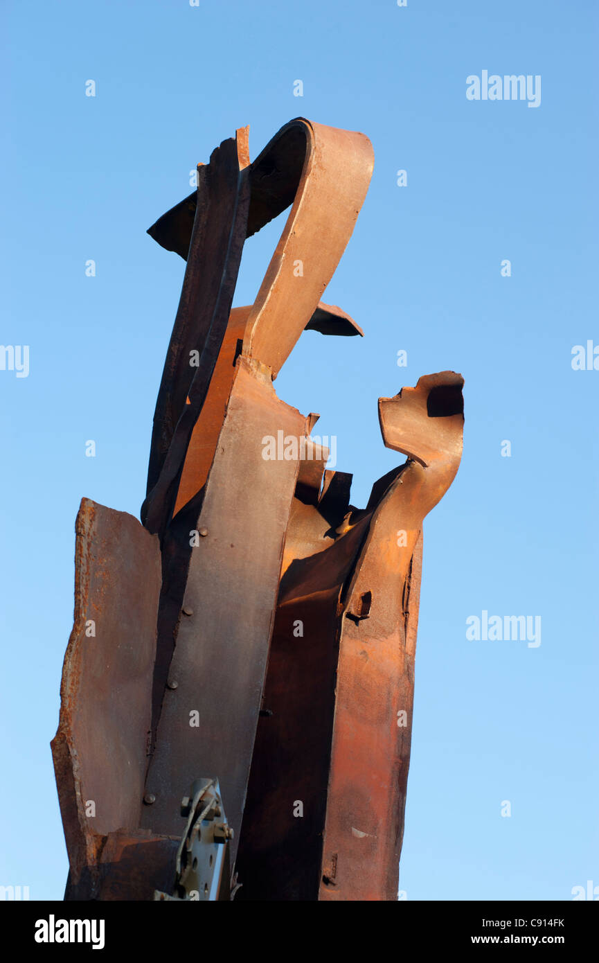 Girders from the World Trade Centre NYC destroyed on 9/11 used in a sculpture by Miya Ando, on display in London's - Stock Image