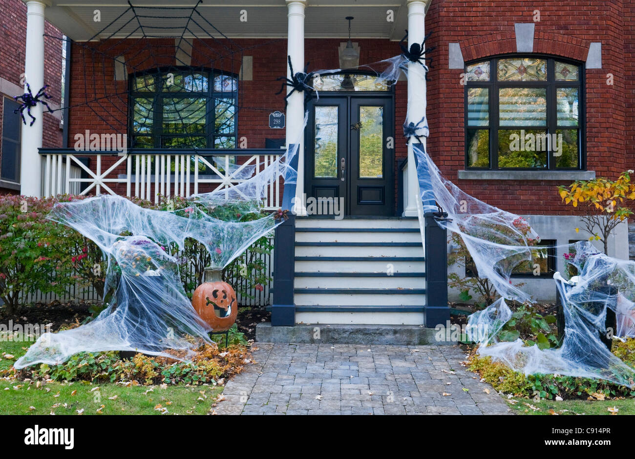 halloween decorations on a house in outremont area montreal canada