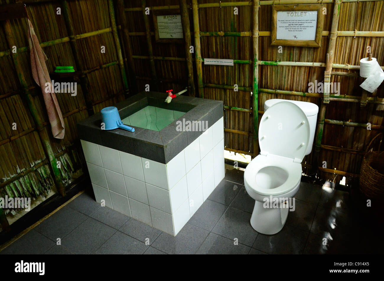 Eco friendly ``Mandi'' or bathroom facility, Kri Eco Resort, Raja Ampat island of Western Papua in the Pacific - Stock Image