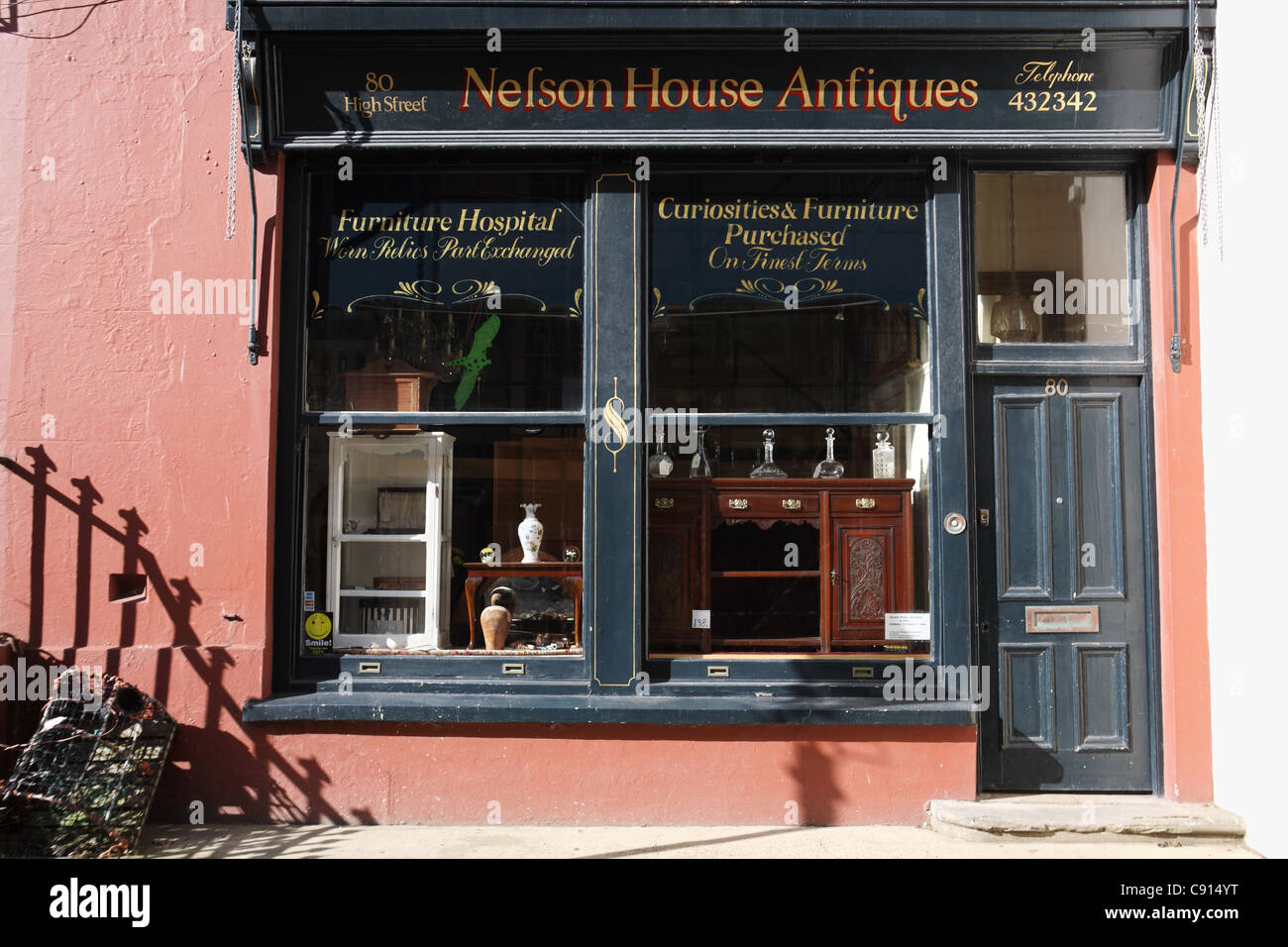 Nelson House Antiques shop Hastings old town, East Sussex, South Coast, England, UK - Stock Image