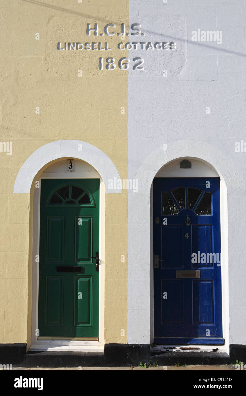 Detail view of 3 and 4 Lindsell Cottages, Hastings old Town, East Sussex, South Coast, England, UK - Stock Image