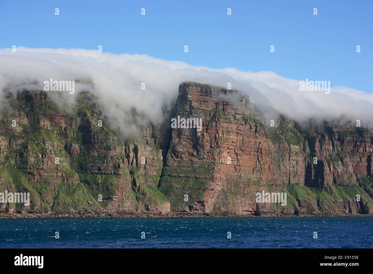 Hoy is the second largest island in Orkney. St John's Head is the highest vertical sea cliff in Britain. It - Stock Image