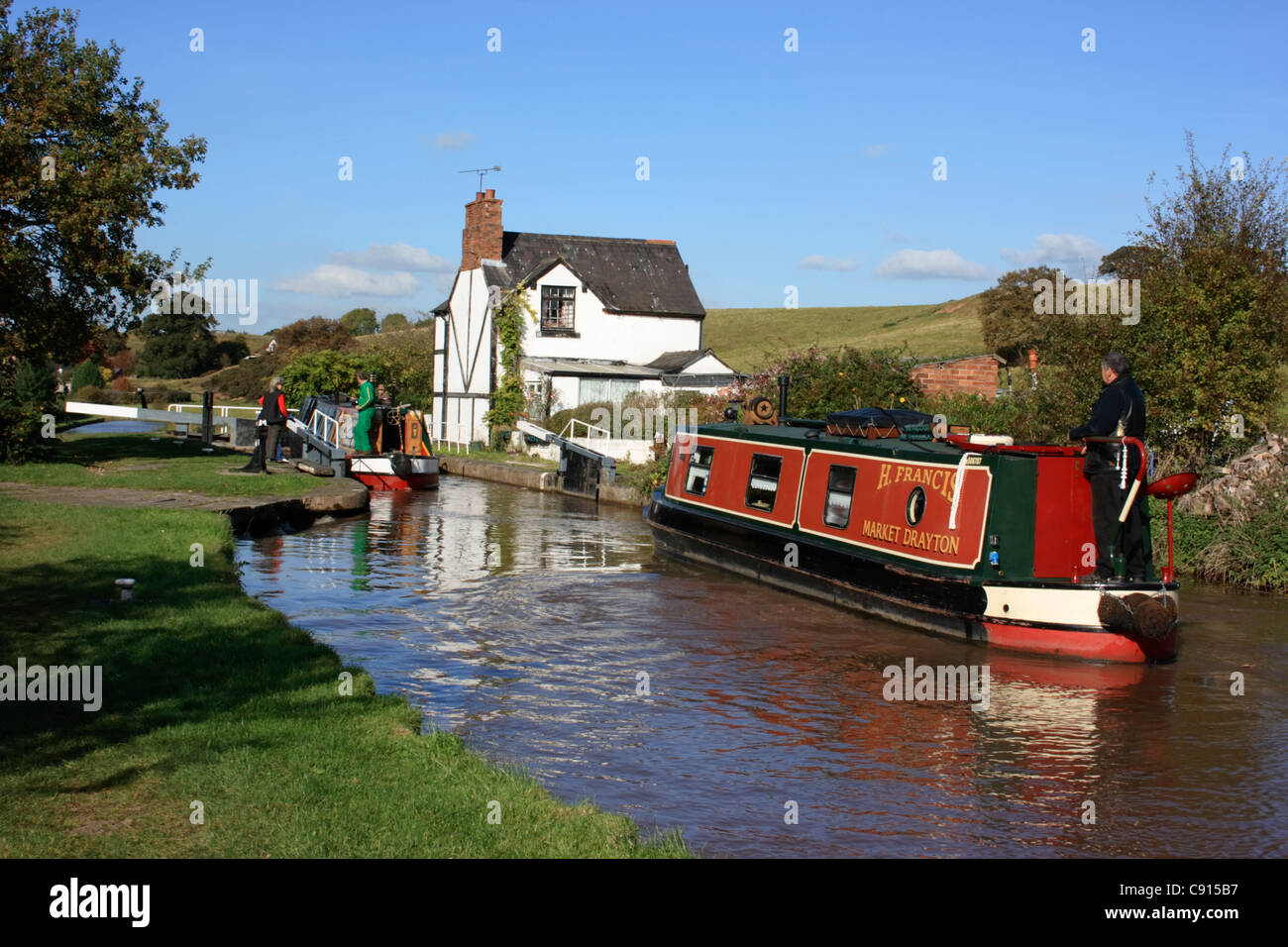 The Shropshire Union canal is 67 miles long and spans four counties the West Midlands Staffordshire Shropshire and - Stock Image