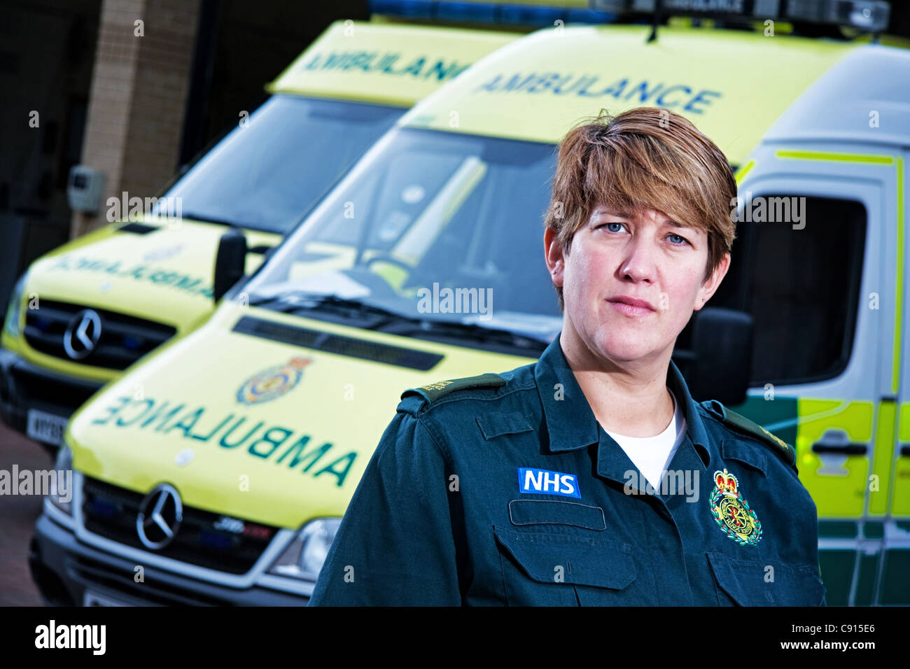 Ambulance worker Erica Cowley - Stock Image