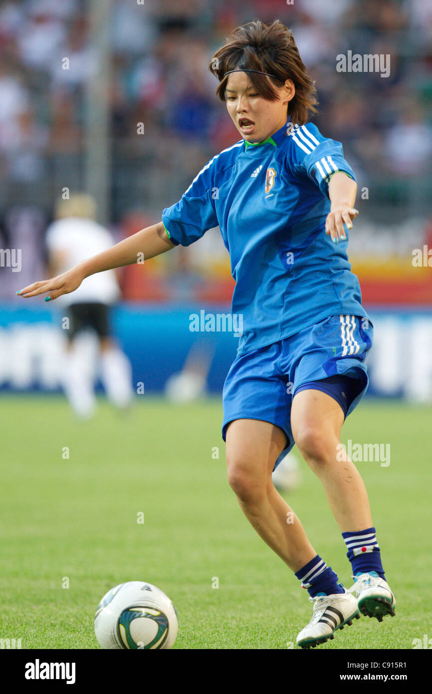 Saki Kumagai of Japan warms up before a 2011 FIFA Women's World Cup quarterfinal soccer match against Germany. - Stock Image
