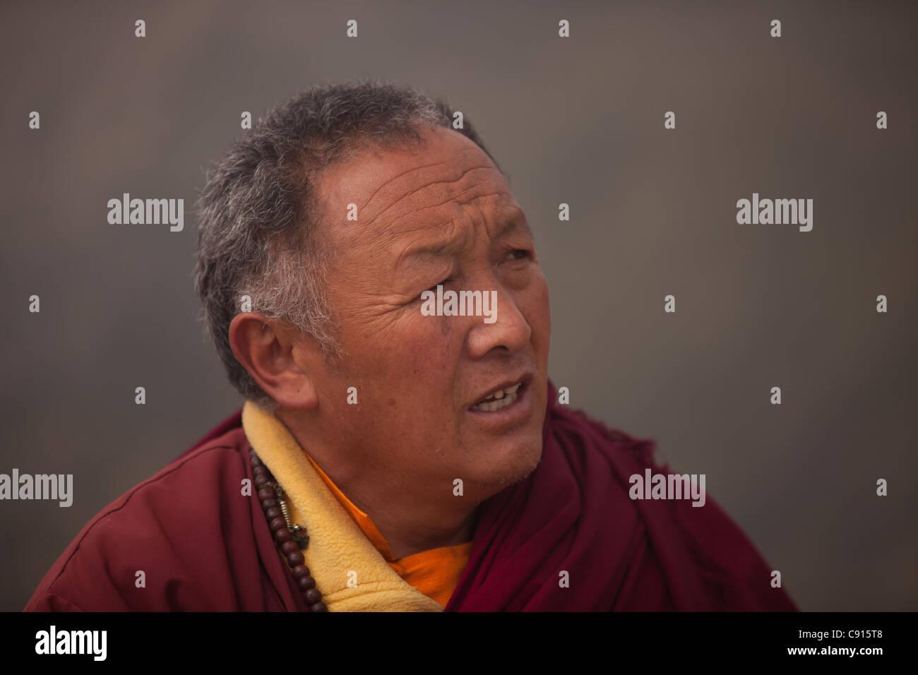 Buddhist priest, Sagarmatha National Park, Nepal - Stock Image