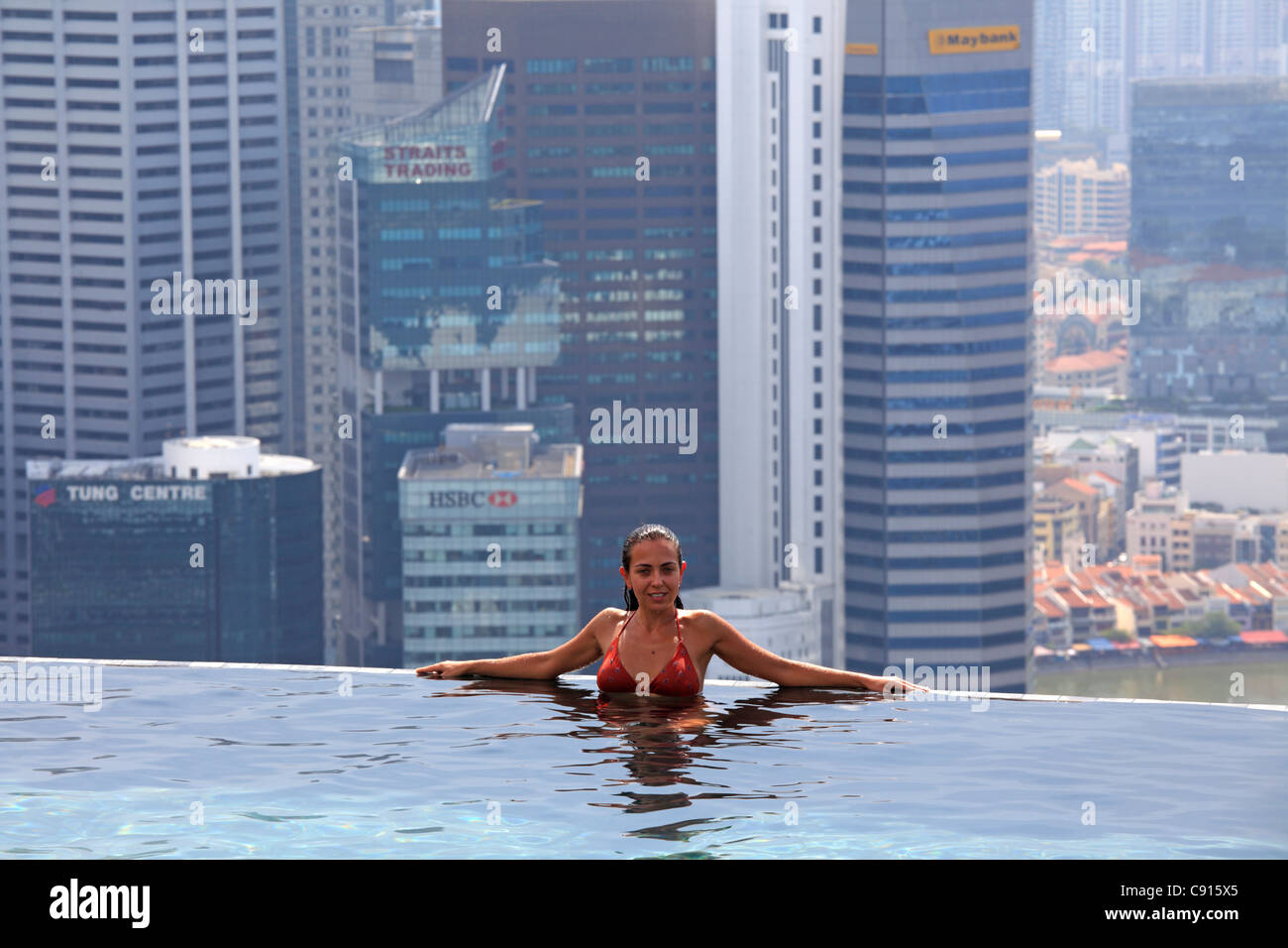 The Swimming Pool On The Top Of Marina Bay Sand Hotel Singapore Stock Photo 39979245 Alamy