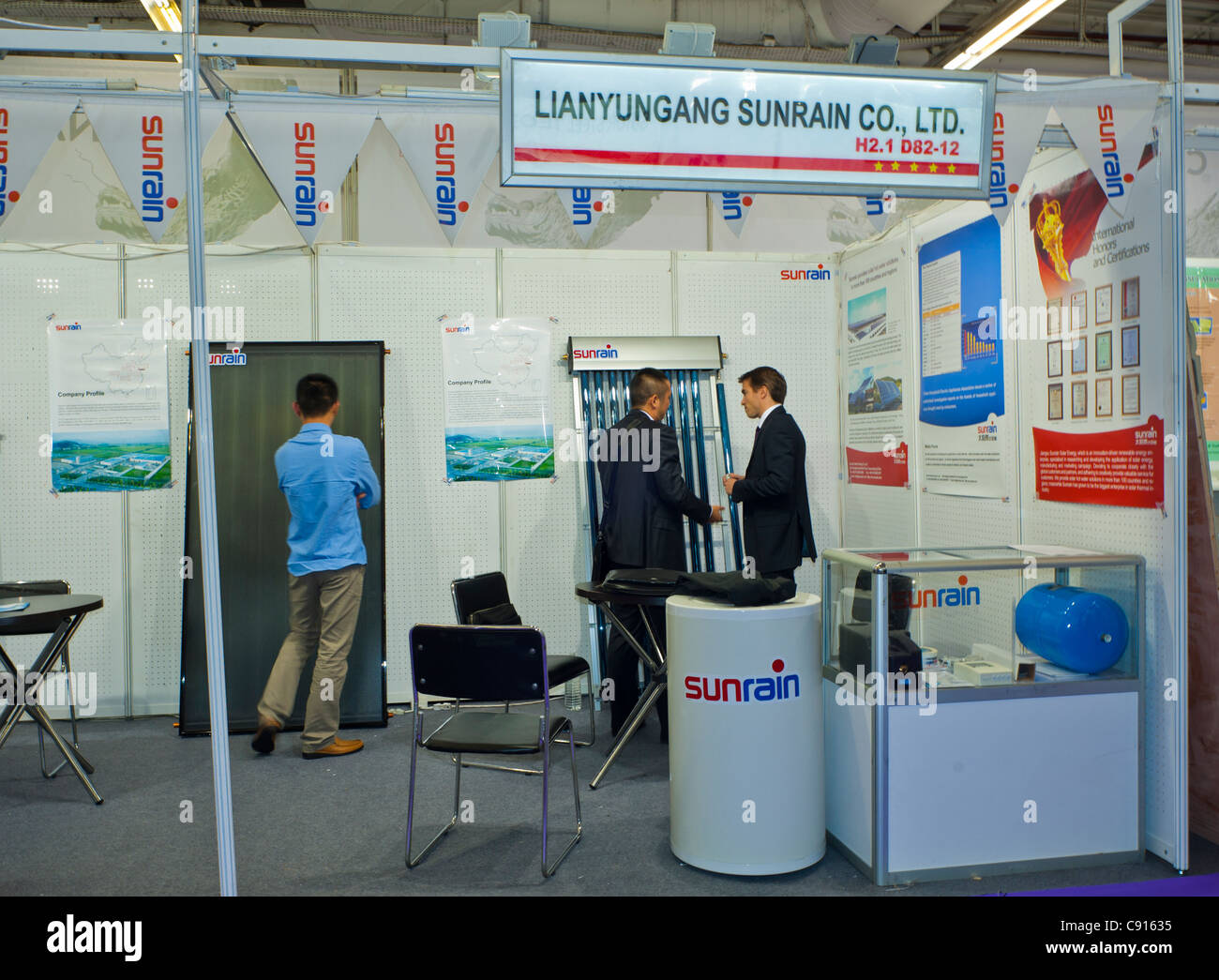 Paris, France, Batimat Construction Materials Trade Show, Chinese Companies Stalls Chinese Solar power Company, - Stock Image