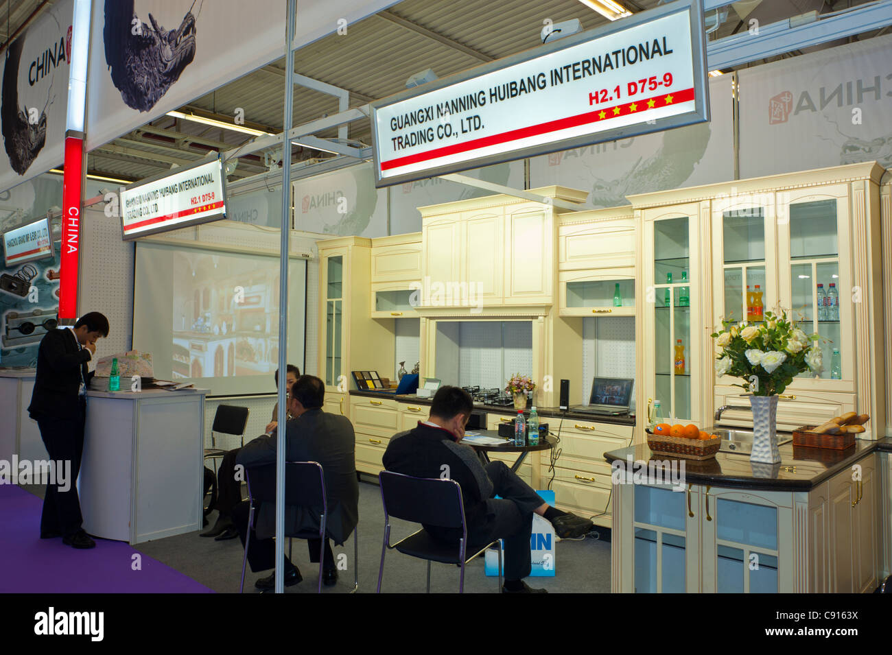 Paris, France, Batimat Construction Materials Trade Show, 2011  Chinese Companies Stalls 'Guangxi Nanning Hubang - Stock Image