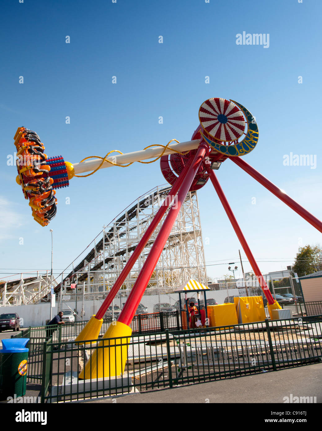 Coney Island is famous for its amusements boardwalk seaside cafes and fairground attractions and is popular with - Stock Image