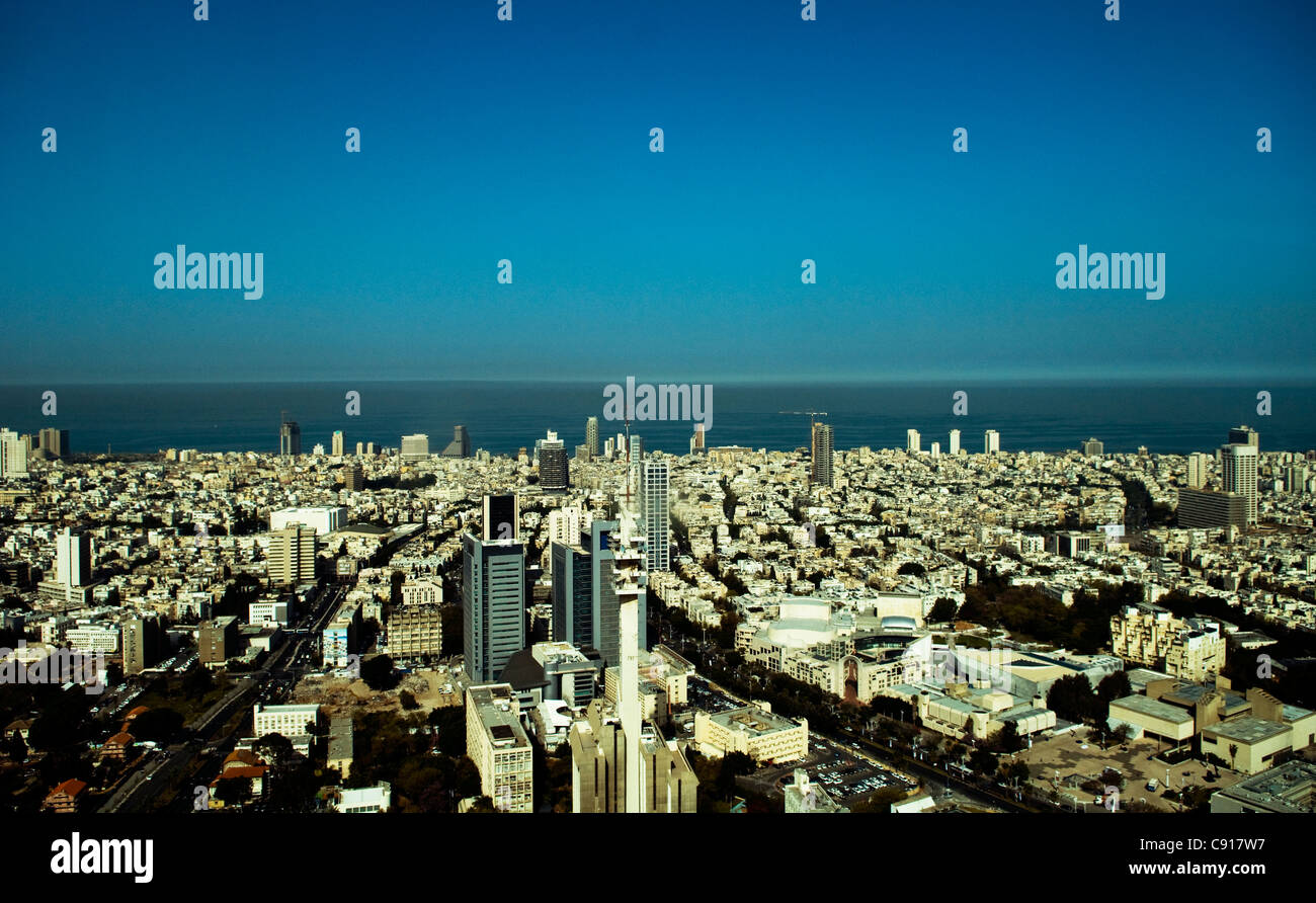 An Aerial view of Tel Aviv. - Stock Image