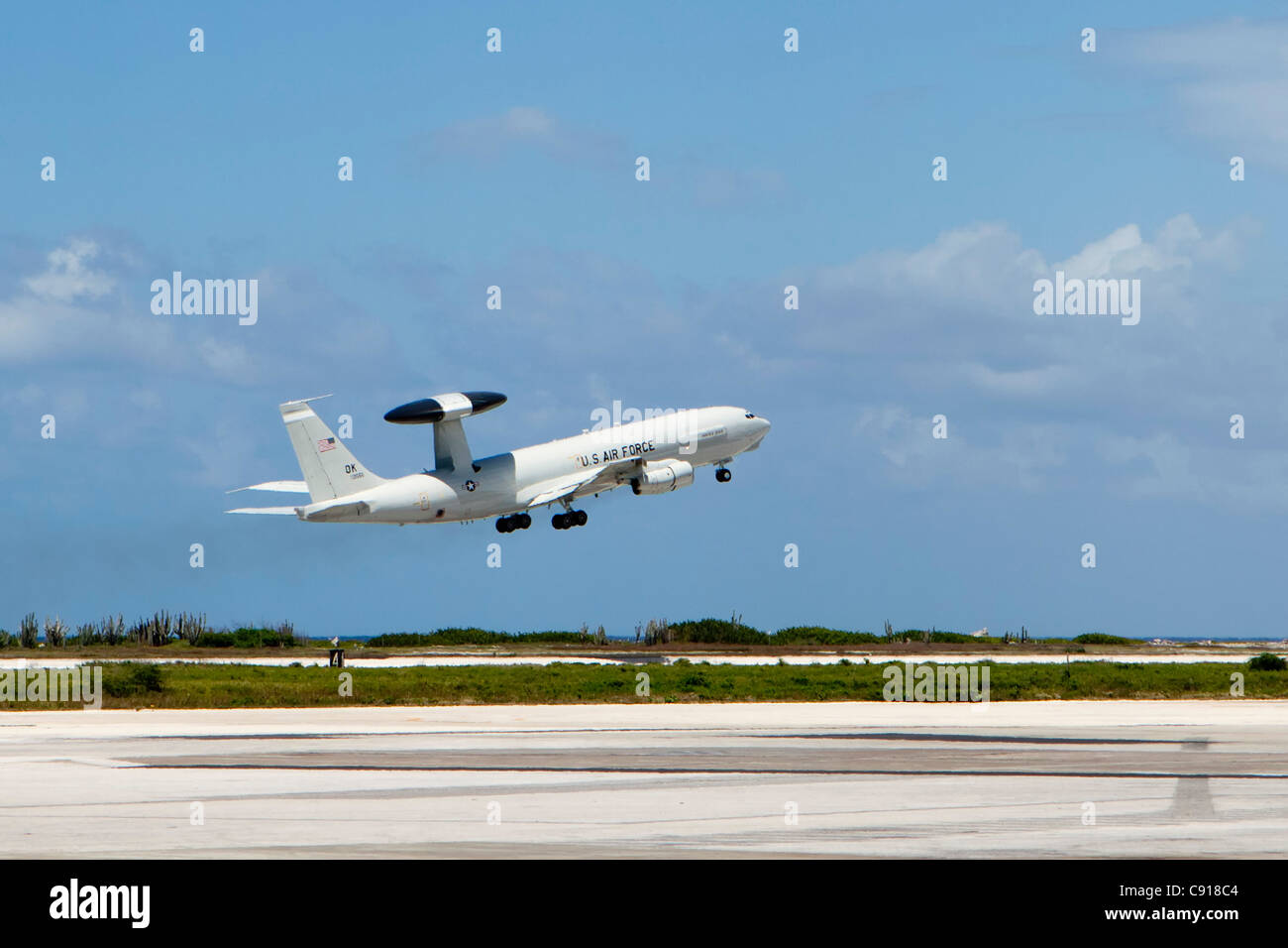 Curacao, Caribbean island, independent from the Netherlands since 2010. Willemstad. AWAC airplane of US Air Force - Stock Image