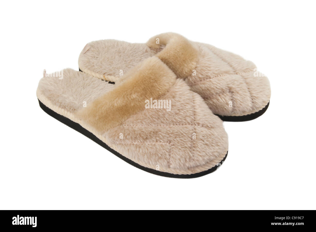 Terry cloth slippers - Stock Image