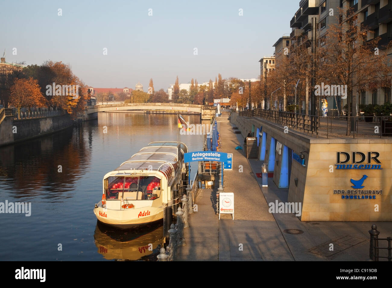 River Spree from Liebknechtbrücke with DDR museum, Berlin, Germany - Stock Image
