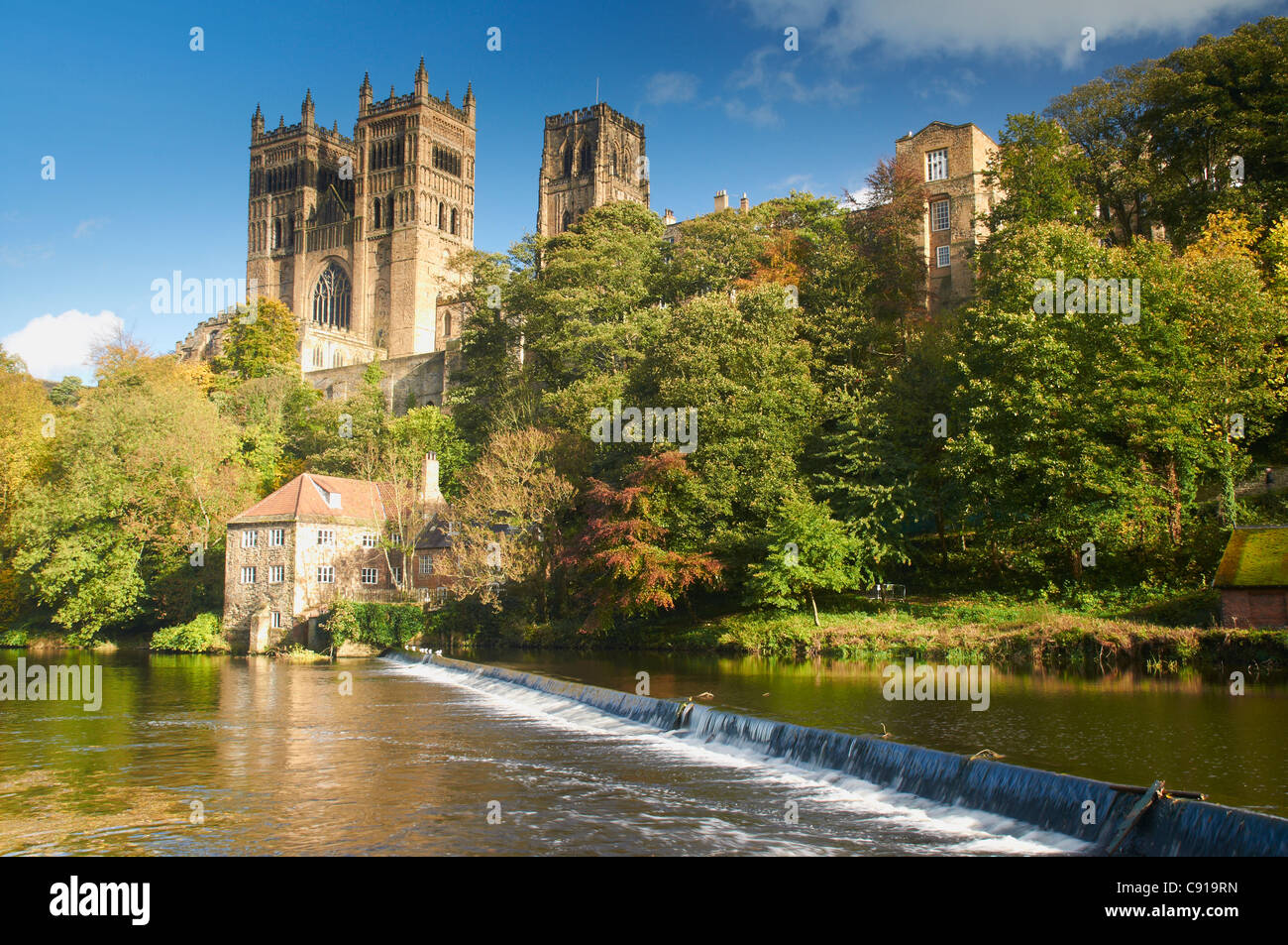 Durham Cathedral dominates the city of Durham. The tall towers of the Norman cathedral can be seen from all around - Stock Image