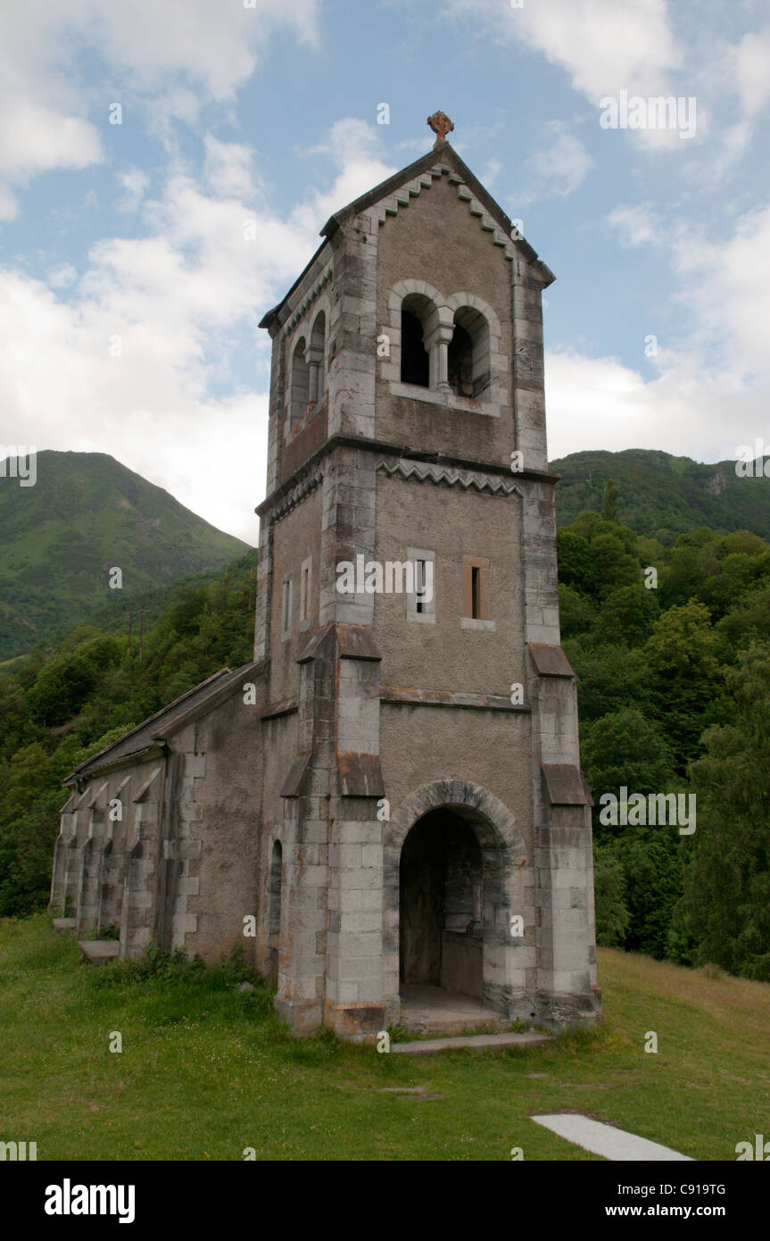 Chapelle Solferino is a historic chapel and tower near Luz-Saint-Sauveur. - Stock Image