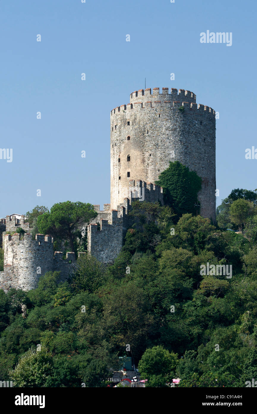 View from the Bosphorus of Rumeli Hisari - Fortress of Europe a walled fortress ordered to be built in 1452 by Mehmet - Stock Image
