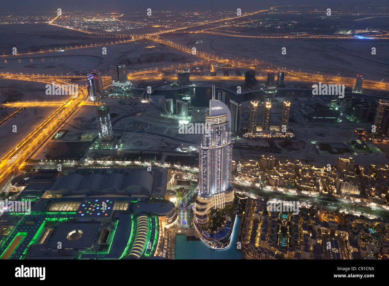 Aerial view of The Address Downtown Dubai in Dubai at night - Stock Image
