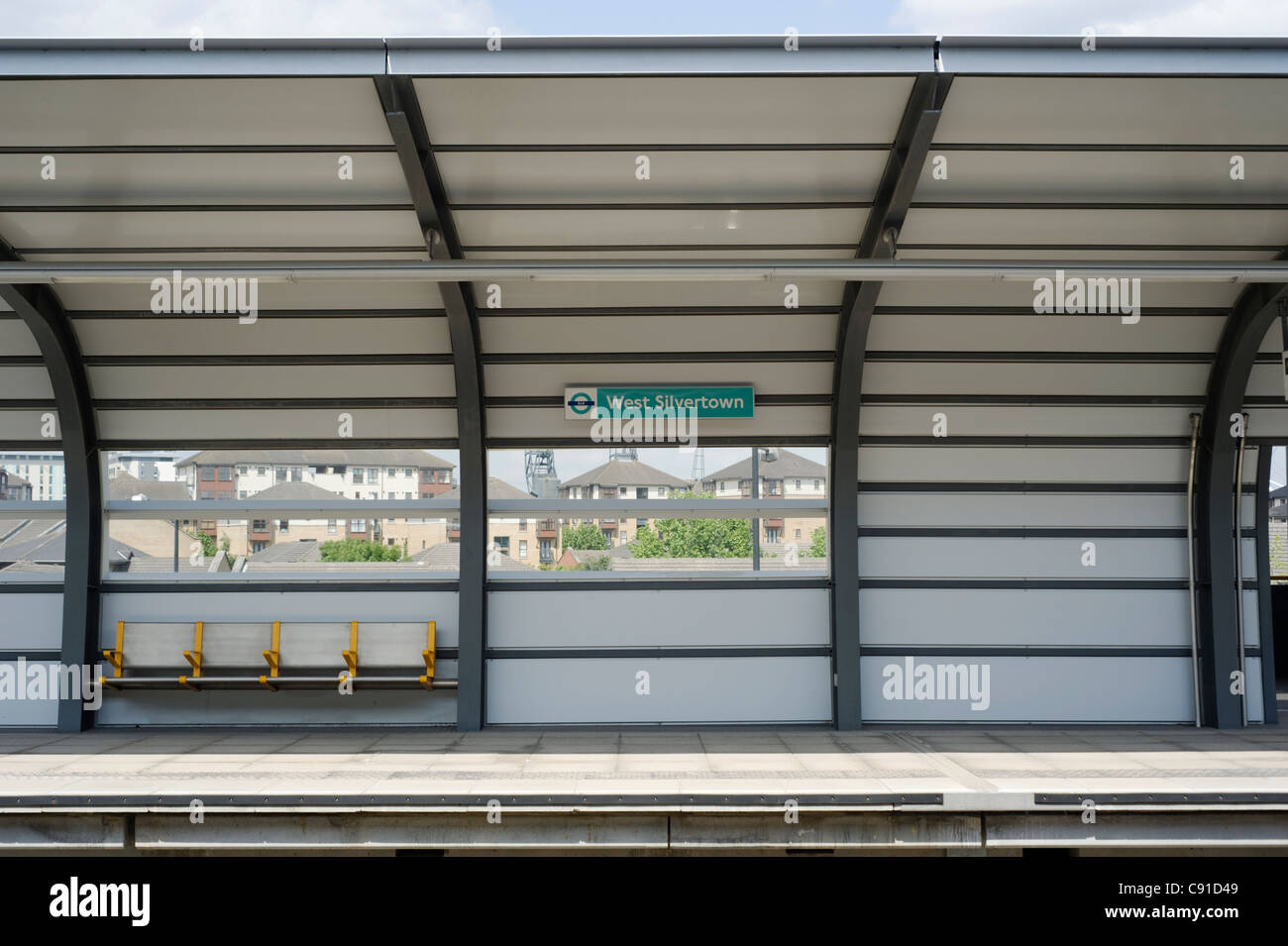 West Silvertown is a station on the Docklands Light Railway which opened in December 2005. It is located on the - Stock Image