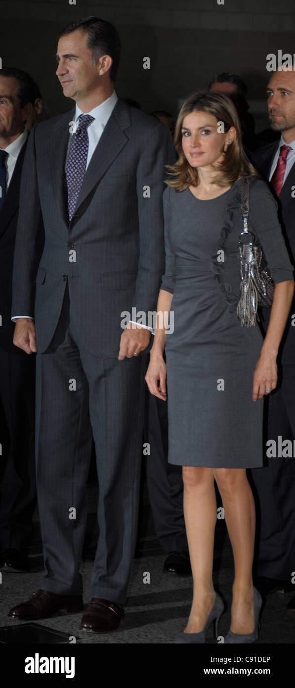 Felipe Prince of Asturias, successor to the throne of Spain, accompanied by Letizia Princess of Asturias - Stock Image