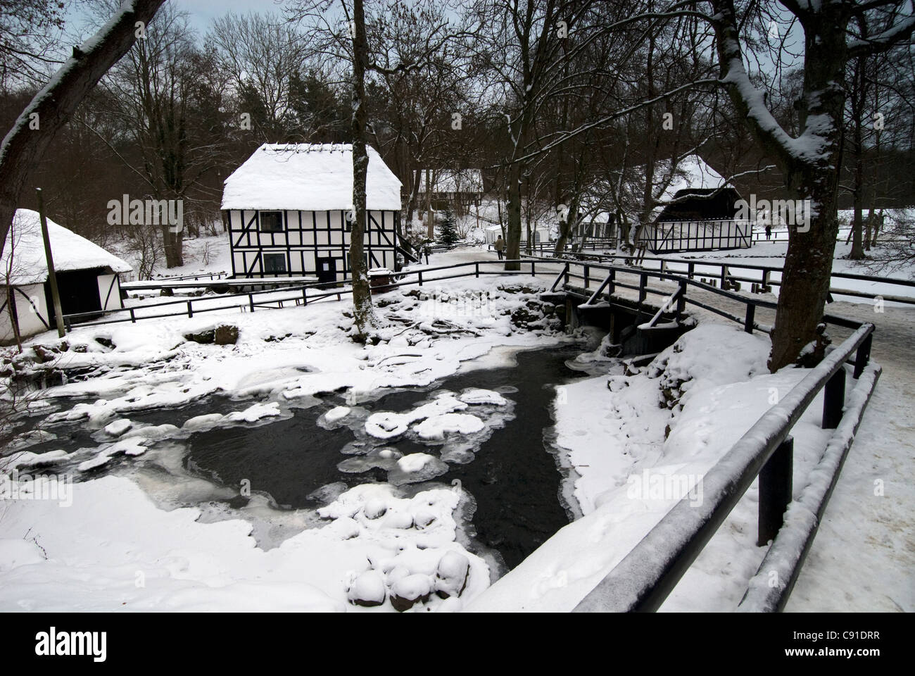 The Moesgard Museum features some reconstructions of historic Danish buildings, such as the Forest Mill. - Stock Image