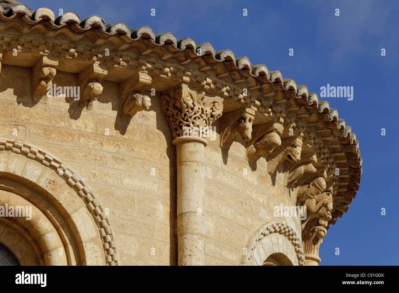 Detail of the church Iglesia San Martin Fromista Province of Palencia Old Castile Catile-Leon Castilla y Leon Northern - Stock Image