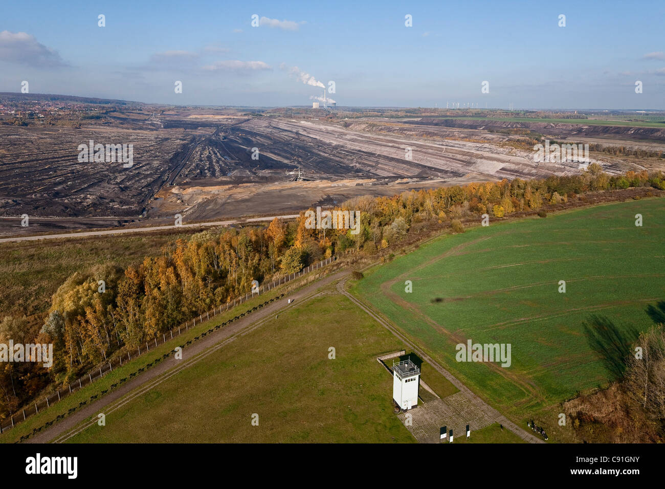 Aerial view of the former GDR watch tower on the former border and lignite mining, Schoeningen, Lower Saxony, Germany - Stock Image